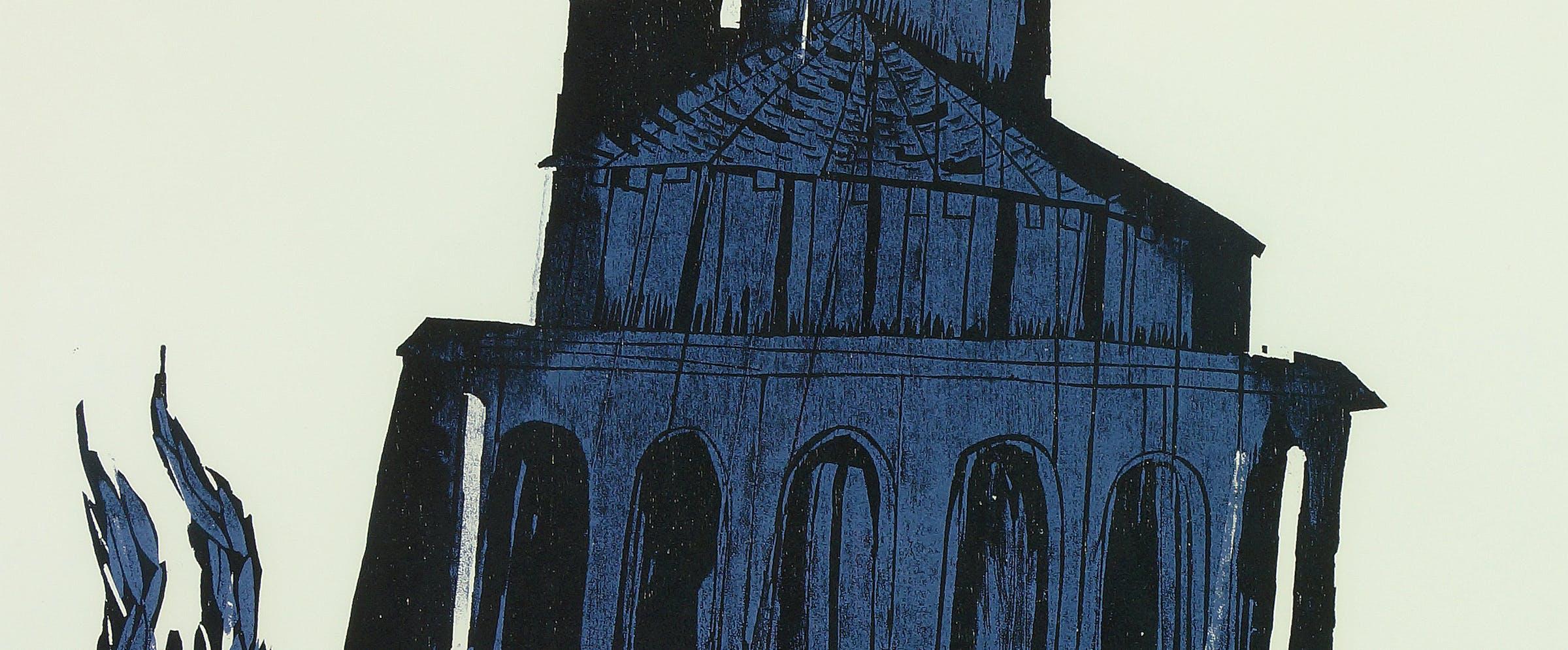 Detlef Willand (f. 1935; tysk): Kirken i Eunate, Spania (ant. 1988), fargetresnitt