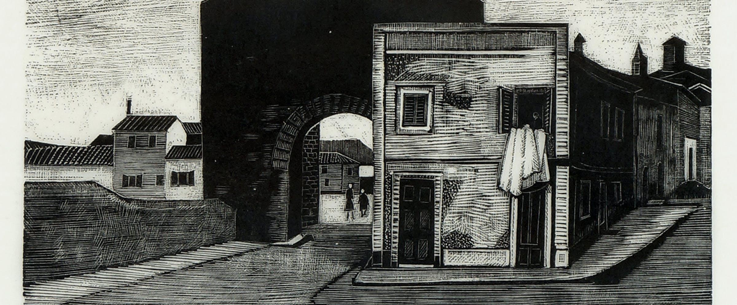 Sven Ljungberg (1913-2010; svensk): Hus med byport, (1950-1960), trestikk