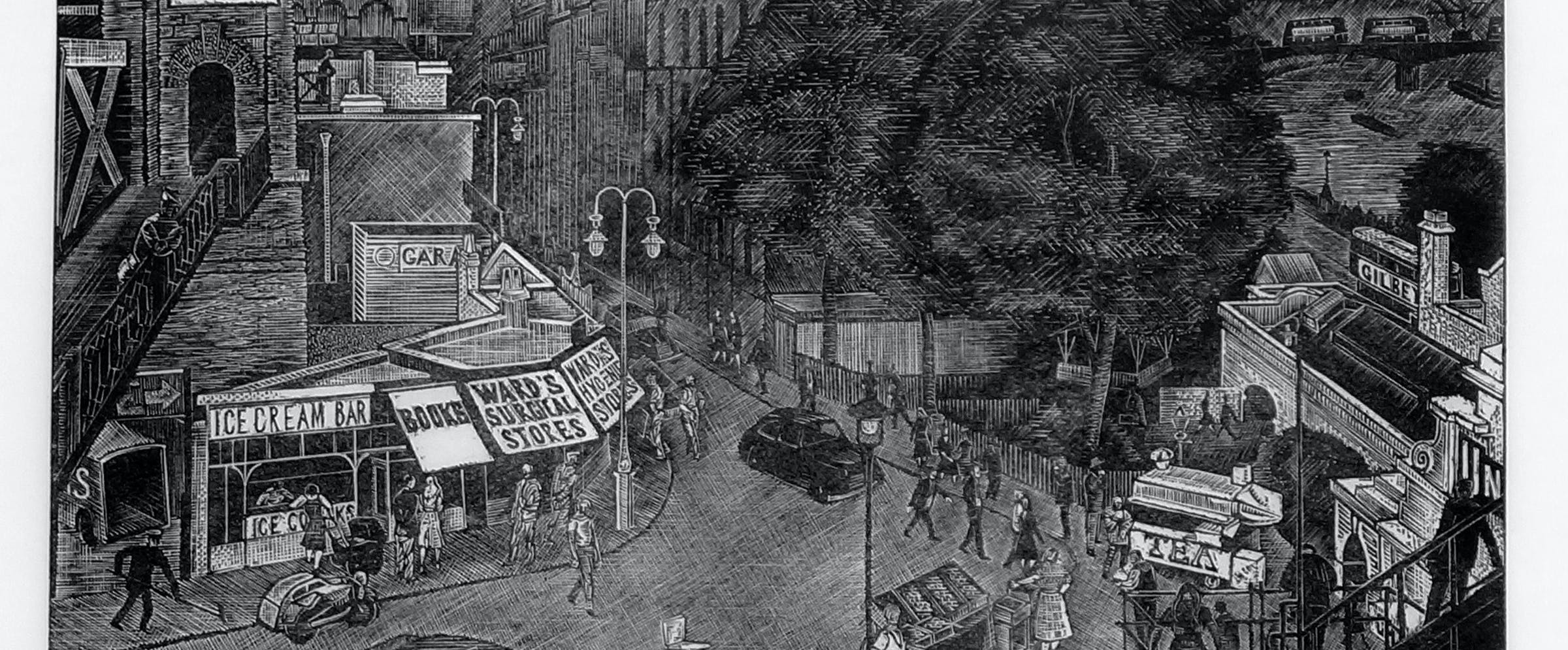 Erik Wessel-Fougstedt (1915-1990; svensk): Gatemotiv, London, (1960), trestikk