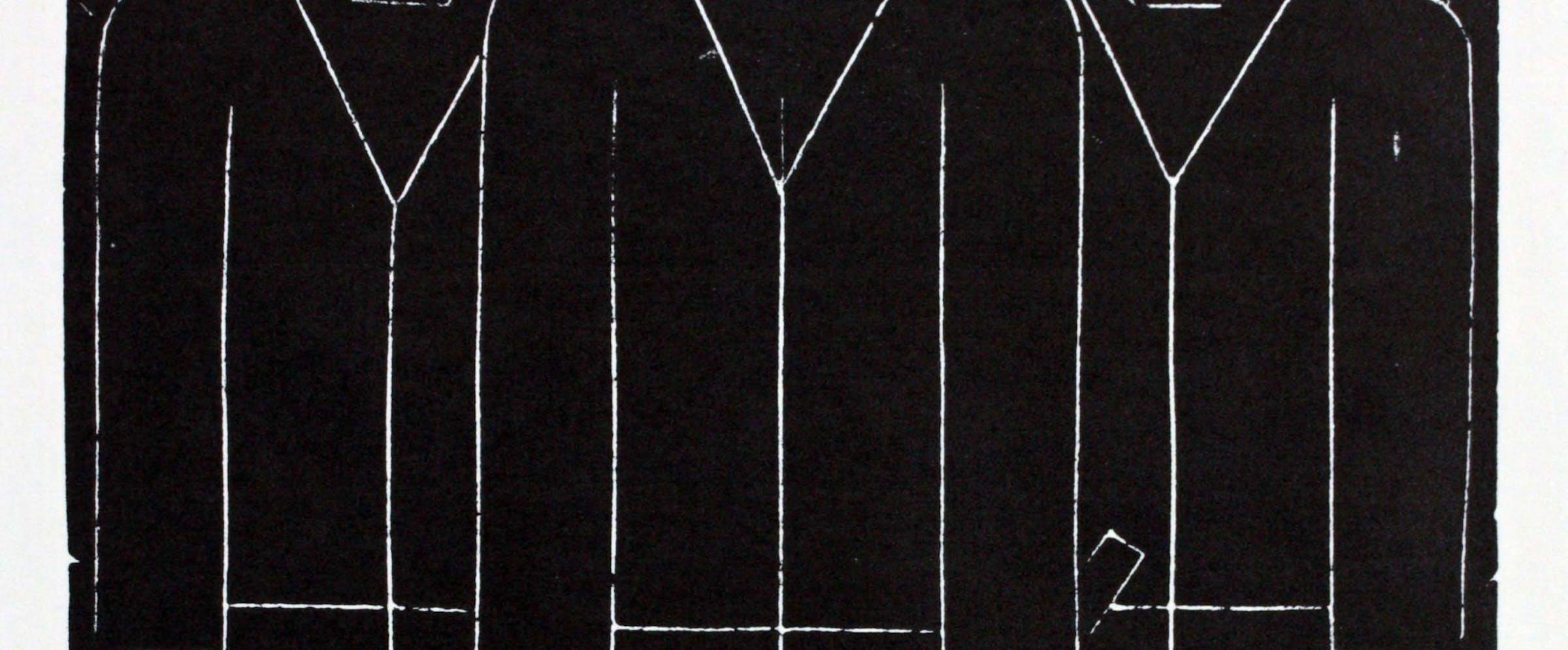 Hans Schmitz (1896-1977): «Folkemengden», 1923/1972, linoleumssnitt, 190 x 160 m.m.