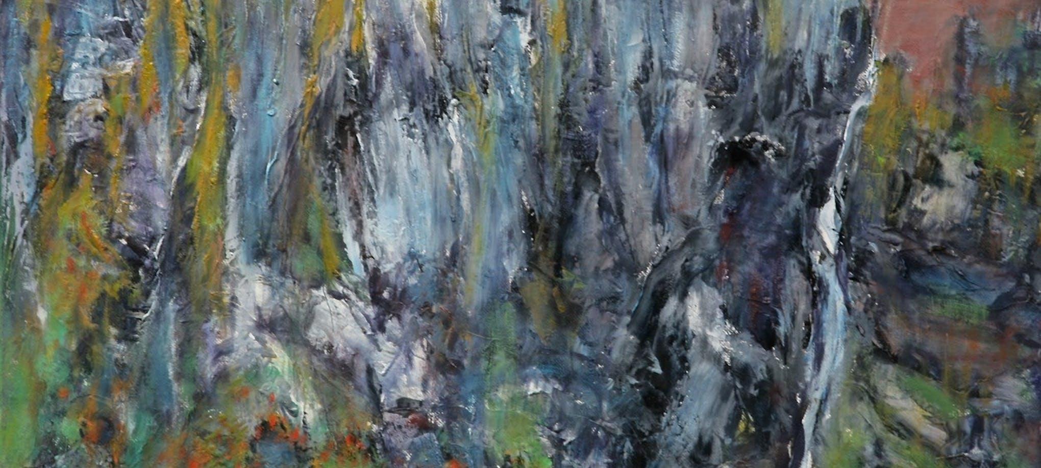 Fjellklippe, 2020, 50 x 65 cm